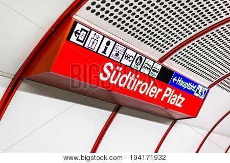 VIENNA AUSTRIA - 5 August 2015: Subway and Metro directions on the Sudtiroler Platz station. Wienn Austria.