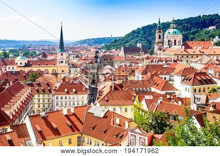Prague Czech Republic. Mala Strana old district of Bohemia capital city with Saint Nicholas Church.