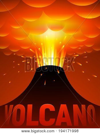 Volcano eruption. Vector cartoon illustration. Eps10. RGB Global colors