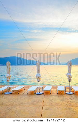 Colorful view of a beach at sundown