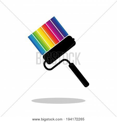 Paint roller and rainbow colored stripes of paint of different colors with drop shadow. Flat icon isolated on white background