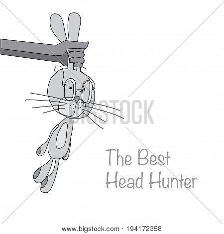 gray rabbit in the hunter hand vector illustration