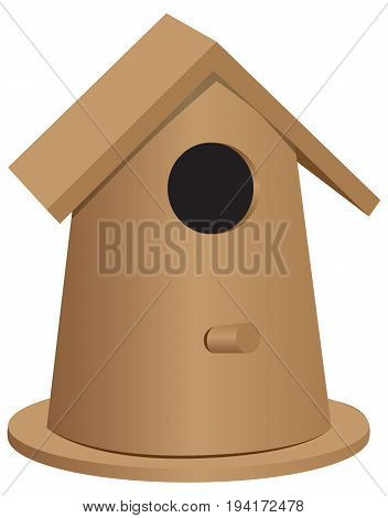 The wooden bird house of the oval form