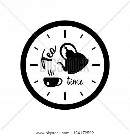 Clock silhouette with tea pot cup and text Tea Time isolated on white background