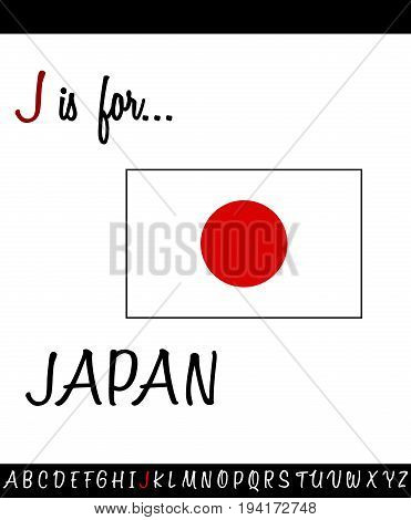 Illustrated vocabulary worksheet card J is for JAPAN for Children Education