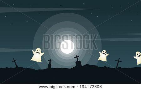 Halloween landscape graveyard with ghost vector illsutration