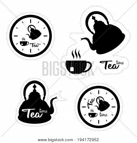 Set of four labels with silhouettes of clocks tea pots and cups isolated on white background