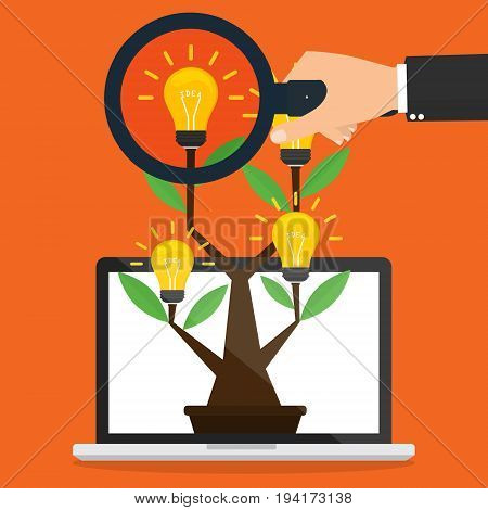 Businessman hand with magnifying glass for finding Idea tree with idea light bulb on computer laptop with internet online. Vector illustration online internet business idea concept design.