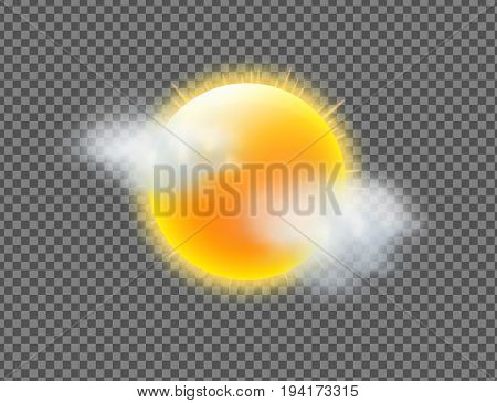 Vector illustration of cool single weather icon with sunny sun and few clouds floats isolated on transparent background