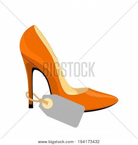 Stiletto shoe with blank price tag isolated on white background