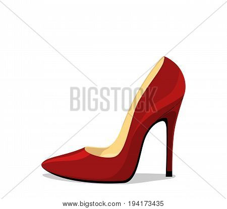 Stiletto shoe. Red womens high heel with shadow isolated on white background
