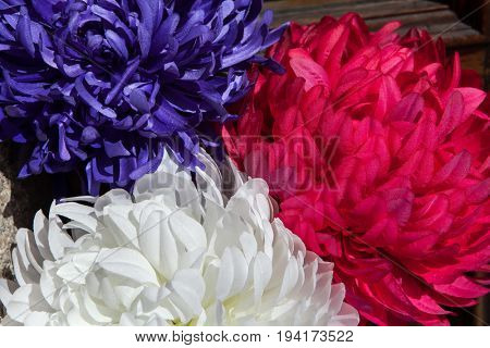 Red, blue and white plastic flowers (Callistephus chinensis).