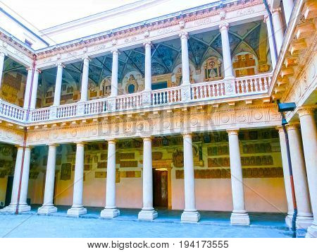 Padua, Italy - September 19, 2014: Palazzo Bo, historical building home of the Padova University from 1539, in Padua, Italy