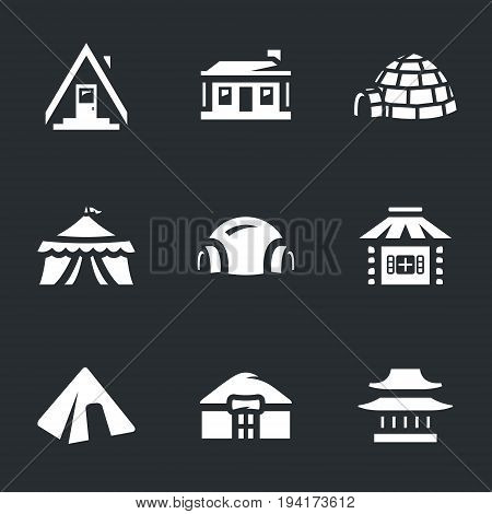 Camping, hut, needle, tent, space module, village, pyramid, yurt, temple.