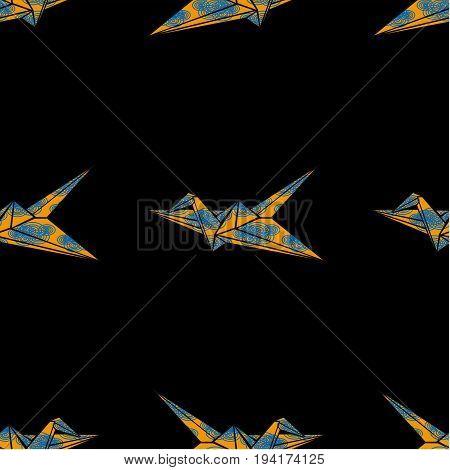 Origami paper crane , seamless vector pattern