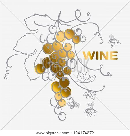 grape bunch for wine label. vector hand drawn illustration