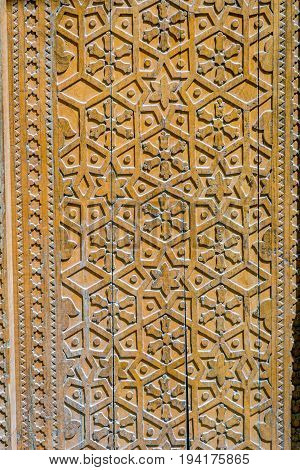 Ornaments On Wooden Carved Door