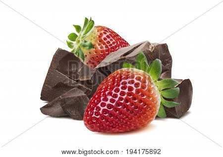 Strawberry craft chocolate pieces isolated on white background
