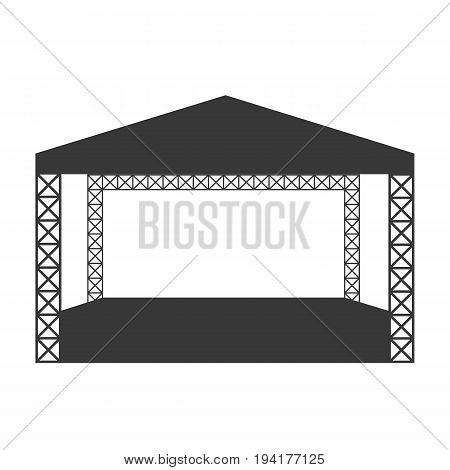 Outdoor modern rock concert or open air festival stage vector flat icon template. Eps10.