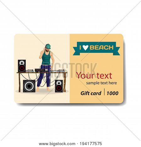 Summer party: DJ and his equipment, dance music. Sale discount gift card. Branding design to the resort and a DJ goods store