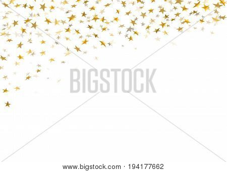 Gold stars falling confetti isolated on white background. Golden design festive party birthday celebration carnival anniversary. Stars confetti decoration explosion Vector illustration