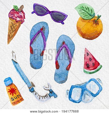 flip flops, ice cream, sunscreen, orange, watermelon, snorkeling mask, snorkel, summer watercolor painting pattern