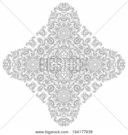 Oriental pattern with light silver arabesques and floral elements. Traditional classic ornament. Vintage pattern with arabesques