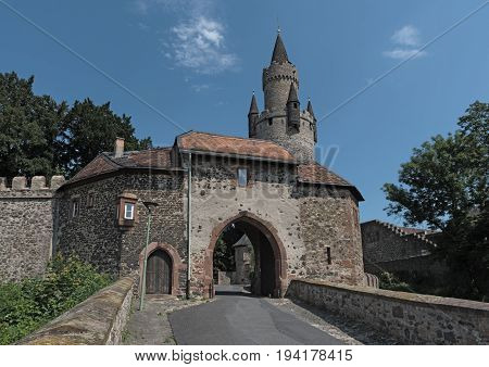 Entrance to Friedberg castle, Wetterau, Hesse, Germany