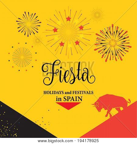 Spain fiestas or festivals abstract poster design. Spanish San Fermin Festivals main attraction, famous celebration, Pamplona fiesta banner, tickets. Vector illustration.