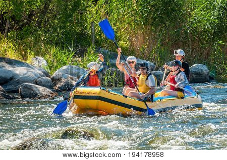 Village Mihia Mykolayiv region Ukraine - July 2 2017: Rafting and kayaking. A popular place for extreme family and corporate recreation as well as training for athletes.