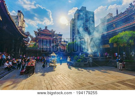 TAIPEI TAIWAN - JUNE 07: This the architecture of Longshan temple a famous buddhist temple where many locals and tourists visit in Taipei on June 07 2017 in Taipei