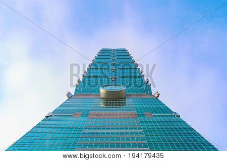 TAIPEI TAIWAN - MAY 31: This is the exterior arcitecture of the Taipei 101 building a famous landmark in Taipei which is situated in the Xinyi financial district on May 31 2017 in Taipei