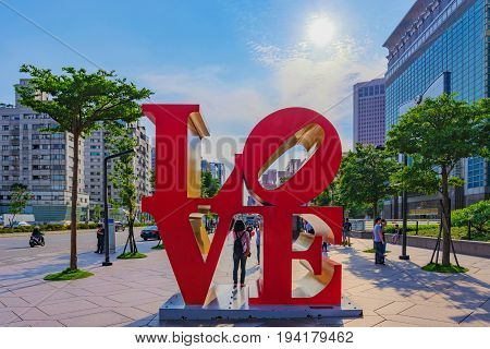 TAIPEI TAIWAN - MAY 31: This is the famous love sign outside the Taipei 101 building where many couples go to take a photo next to the sign on May 31 2017 in Taipei