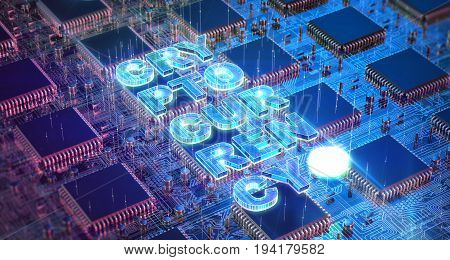 Computer Circuit Board with muliple asic chips and cryptocurrency word. Blockchain Cryptocurrency Mining Concept. 3D Illustration.