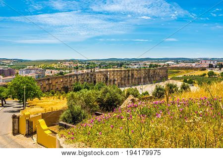 View at the aqueduct from wall of Elvas in Portugal