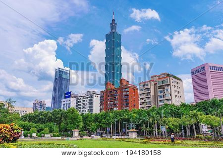 TAIPEI TAIWAN - MAY 31: This is view of Taipei 101 and Xinyi financial district architecture taken from the gardens of Sun Yat-sen memorial hall on May 31 2017 in Taipei