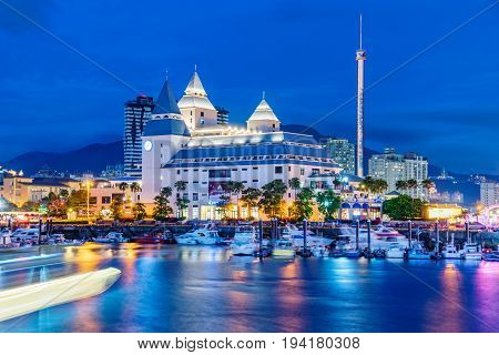 TAIPEI TAIWAN - MAY 29: This is a night view of Fullon hotel in the Fisherman's wharf area of Tamsui iti s a popular hotel and a famous landmark on May 29 2017 in Taipei