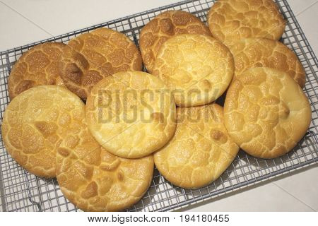Fresh Baked Cloud Bread on cooling rack