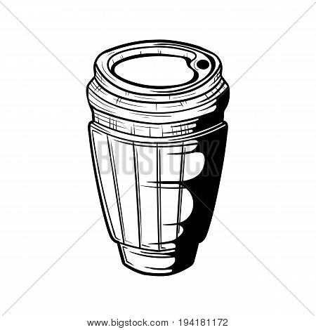 Disposal Paper Coffee cup in doodle style, hand drawn cardboard cup icon