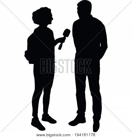 journalist make an interview with star silhouette vector