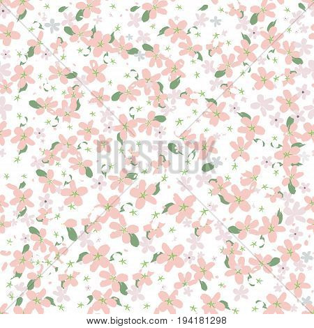 seamless pattern with small white and pink flowers on a white background. Spring light airy texture for textiles, scrapbook, packaging and various designs. vector