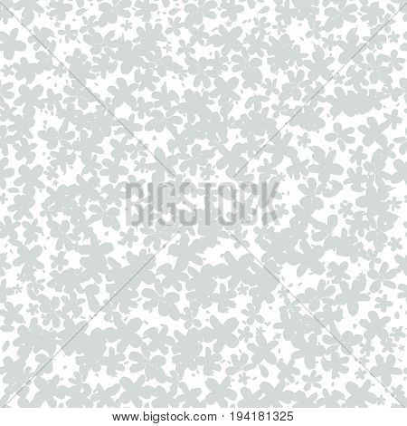 Seamless pattern with grey outlines of flowers. Abstract texture.