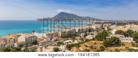 Panorama of the Costa Blanca from the overlook point in Altea Spain