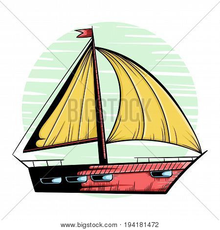 Ship with sail in doodle style, hand drawn icon