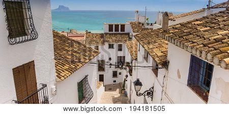 Panorama Of Whitewashed Houses In The Historic Center Of Altea