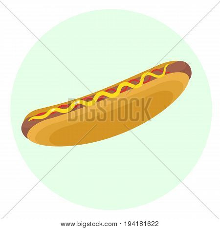 Flat vector delicious hotdog with grilled sausage ketchup and mustard icon. Tasty cartoon colorful fastfood symbol