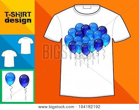 Template T-shirt with an trendy design: Cloud of blue balloons.