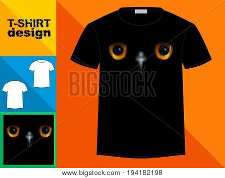 Template T-shirt with an trendy design: Eyes of a baby owl.