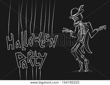 Dancing sceleton.Engraved hand drawn vector illustration. Chalkboard. Could be used for Halloween decoration, prints, greeting card or invitation.