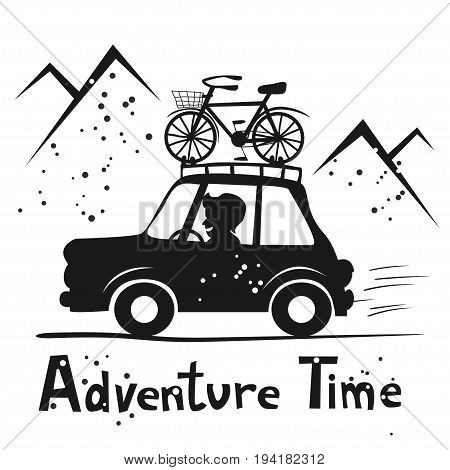 Adventure time. Happy man travelling by car with bike mounted on the roof. Cutout vector illustration. Cartoon style. Concept for sport, road trip, mountain biking, vacation, car travel etc.
